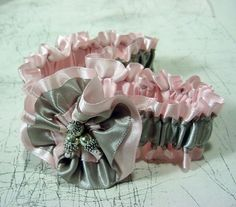 Pretty pink and silver garter