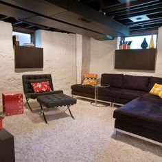 Unfinished Basement Ideas ( Good idea for unfinished ceilings. Going to paint mine for sure. Maybe track lights)