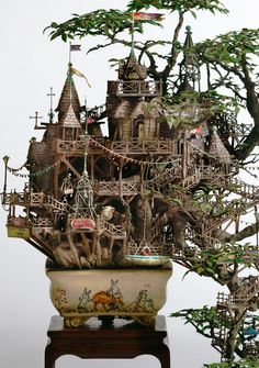 Check into a Tiny Paradise Resort - You already know I dig miniatures but another thing I particularly love is bonsai trees, so when you throw the two together, I'm going to get a little over excited. Today I found the work of Takanori Aiba, a Japanese wizard of miniature artistry with a specialty in making Bonsai treehouses and tiny tourist resorts from a parallel universe– no, not something you see regularly on a resumé these days…