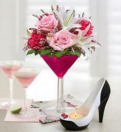 Martini Glass Bouquet | Jeanne Birthday Cosmo courtesy of clarknjflorist.com