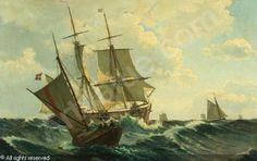 Marine med tremastet sejlskib i høj sø omgivet af pramme - Maleri af Christian Blache (1838-1920) - ukendt årstal
