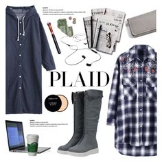 """Check It: Plaid"" by helenevlacho ❤ liked on Polyvore featuring 7 For All Mankind, AIAIAI, M.O.T.D Cosmetics, Max Factor, plaid, contestentry and zaful"