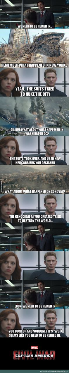 Civil war logic ~ Yes, and Tony is only feeling guilty :/