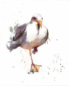 Watercolor SEAGULL Print, Beach House Decor, seagull painting, seagull art. $18.00, via Etsy.