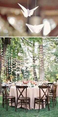 Origami, grullas blancas para una mesa de boda