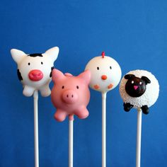 12 Farm Animal Cake Pops - Cow, Pig, Chicken, Sheep - for Barnyard, Old MacDonald, Rodeo, Barn, or Zoo party, birthday favor, cake topper. $39.00, via Etsy.