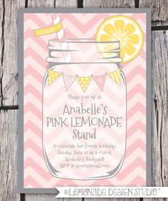 Pink Lemonade Party Invitation Printable - Chevrons - Mason Jar - Bunting - Lemonade Stand Birthday Party Invite - Bridal Shower -. $15.00, via Etsy.