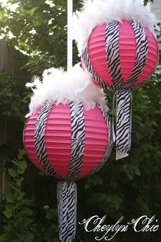 Hot Pink and Zebra Stripe Ribbon and Feathers Paper Lanterns Medium.