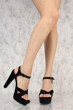 Black Open Toe Platform Chunky Heels Faux Velvet