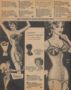 Guaranteed To Beautify Your Lines    Page 16 of the Spring 1962 Frederick's of Hollywood catalog.