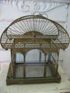 INCREDIBLE OLD Vintage Metal DOME BIRDCAGE Arched Glass Windows Ornate Details