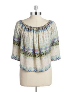 Three-Quarter Sleeved Peasant Top Peasant Tops, Tunic Tops, Design Lab, Lord & Taylor, Go Shopping, Blouses For Women, Polyvore, Fashion, Blue Lace
