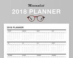 "Minimalist Yearly Wall Planner, January 2018 - December 2018, 11.69"" x 16.53"", Laminated, Horizontal, Erasable, White, Black"