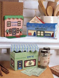 Create a miniature Main Street with storefront helpers. Size: Cafe Recipe Box: 3 x 6 x 4 tall cm x cm x cm]; Cooking School Bookend Cover: 5 across x 5 tall cm x cm] and covers a standard size bookend; Grocery Coupon Box: 3 x 7 x 3 tall cm x cm x cm]. Canvas 5, Canvas Frame, Canvas Ideas, Plastic Canvas Crafts, Plastic Canvas Patterns, Plastic Board, Box Patterns, Canvas Designs, Tissue Boxes
