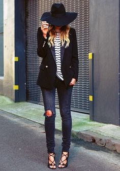 lace-up-heels-street-style-hat-stripes-shirt-blazer