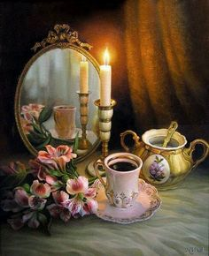 Maria Ilieva is an oil painting artist who was born in Bulgaria. Her floral still life paintings and figurative oil paintings are much appreciated by art lovers. Gifs, Foto Gif, Still Life Oil Painting, Still Life Photos, Beautiful Candles, Gif Pictures, Still Life Photography, Animated Gif, Decoupage