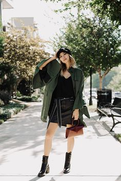 7f4d2d2f4cc7 Photographed by Myles Berrio I'm loving the shape of this forest green army  jacket. To cinch the waste I used a studded belt by Isabel Marant.