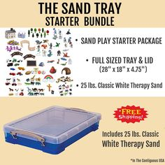 "The Sand Tray Starter Bundle Includes: - Full Sized Sand Tray & Lid (28""L x 18""W x 4.75""D) - 25 lbs. of Classic White Therapy Sand - The Sand Play Starter Package (which includes specific miniatures -"
