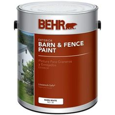 BEHR 1-gal. white Exterior Barn and Fence Paint-03501 - The Home Depot