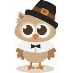 Silhouette Design Store - View Design #100833: thanksgiving pilgrim owl