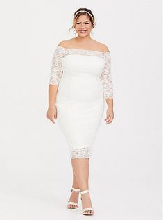 White lace midi dress - Special Occasion Ivory Lace Off Shoulder Bodycon Dress – White lace midi dress Evening Dresses For Weddings, Wedding Dresses Plus Size, Plus Size Wedding, Plus Size Dresses, Plus Size Outfits, White Lace Jumpsuit, Lace Midi Dress, White Dress, Bodycon Dress