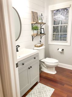 A simple DIY tutorial to add shiplap in your own home! Small Half Bathrooms, Upstairs Bathrooms, Small Full Bathroom, Downstairs Bathroom, Small Half Baths, Beautiful Small Bathrooms, Master Bathroom, Diy Bathroom Remodel, Bathroom Renos