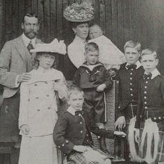 George V and Queen Mary with their children. The baby, Prince John, suffered from epilepsy and died while still a child. The other children from left to right are Princess Mary (later the Princess Royal), Prince George (Duke of Kent), Prince Henry (Duke of Gloucester), Prince Edward (Edward VIII), and Prince Albert (George VI). -History of England, John Burke pg. 290