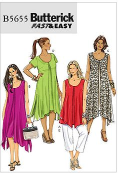 Misses Top, Dress and Trousers Butterick Pattern 5655.