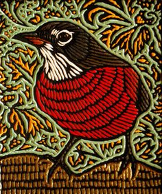 Robin, by Lisa Brawn (Painted woodcut block on salvaged Douglas Fir)