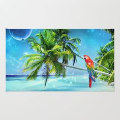 Parrot in the beach Rug by Eduardo Doreni - $28.00