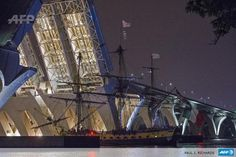 Hermione passes under the Woodrow Wilson bridge near Alexandria, Virginia. AFP photo.