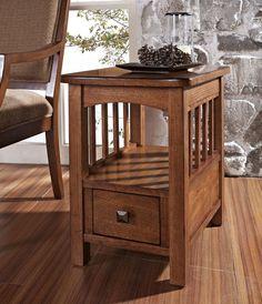 Craftsman End Table | Craftsman 24x16 Chairside Table In Oak, Medium Wood