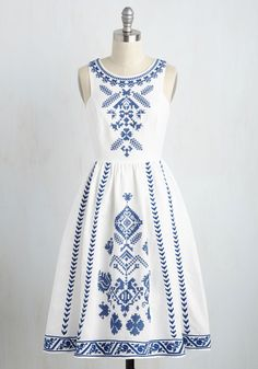 Cross-Stitch My Heart Dress - LOVE the Santorini style, the slightly longer length and the clean while color. Perfect summer dress for a great price