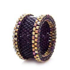 Black and Gold Ring, Black Ring, Beaded Ring, Dreadlock Bead, Statement Ring, Barrel / Couple Rings, OOAK Ring