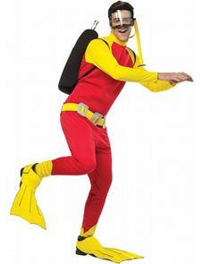 Scuba Steve Mens Costume. Go pretend scuba diving at a Under the sea party or ocean party! Complete scuba costume with top, pants, mask, shoe covers and oxygen tank.
