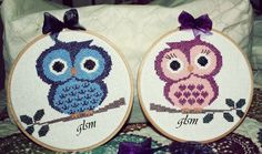 cross-stitch owl board - kanaviçe baykuş pano