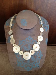Antique mother-of-pearl button necklace; made from my great-grandmother's button collection, silk beading cord, and a lobster clasp #jewelry #vintage