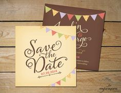 Country Garland Save the Date Wedding Card by MyCrayonsPapeterie // Bunting Flags, Colorful, Rustic Save the Date Announcement
