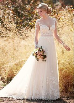 Charming Tulle V-neck Neckline A-line Wedding Dresses With Lace Appliques