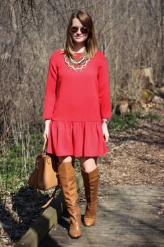 J.Crew Dress, Louise Et Cie Navaria Over-the-Knee Boots,Tory Burch  Robinson Pebbled Square Tote, Baublebar Pearl Courtney Bib-Gold | Ray-Ban Original Aviators