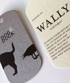 Dog & Duck. Clever business card, in a dog tag shape, on thick coaster stock - very apt for the Adelaide pub. Black Squid Design repinned by www.BlickeDeeler.de