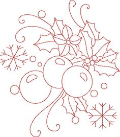 Christmas Redwork embroidery design~kinshipkreations