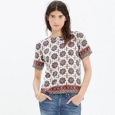 Madewell print silk blouse with zipper Gently used. Only worn a few times. There is a light make up smudged (see photo) Madewell Tops Blouses