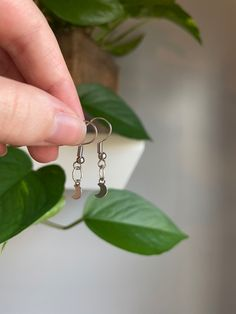 Etsy Jewelry, Jewellery, Unique Jewelry, Valentines Gifts For Her, Moon Charm, New People, Small Businesses, Earrings Handmade, Dangle Earrings