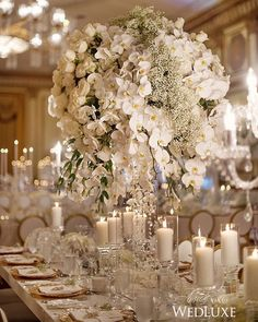 Love the tall white orchid centerpieces with tons of white candles.