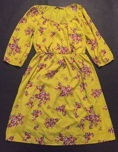 Old Navy Dress M Yellow Purple Flowers Empire Waist Retro Mod Colorful Statement  | eBay