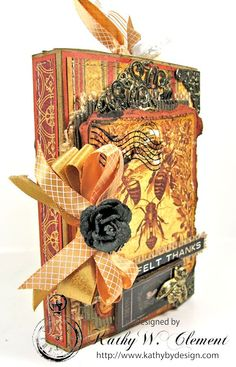 Kathy by Design BEE Thankful Gratitude Journal for Really Reasonable Ribbon made with Graphic 45 Botanicabella papers and The November Ribbon Club Assortment from RRR.