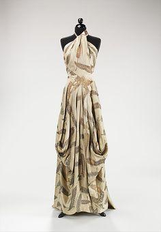O M G | vintage 1930s silk & metallic feather printed gown