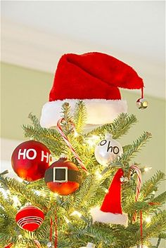 Santa's hat as tree topper for a Santa Claus is coming to town theme