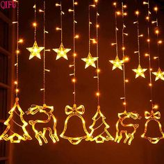 Elk Bell String Light LED Christmas Decor For Home Hanging Garland Christmas Tree Decor Ornament 2019 Navidad Xmas Gift New Year Xmas Tree Lights, Christmas String Lights, Decorating With Christmas Lights, Led String Lights, Fairy Lights, Christmas Tree Decorations, Christmas Tree Ornaments, Light String, Holiday Lights